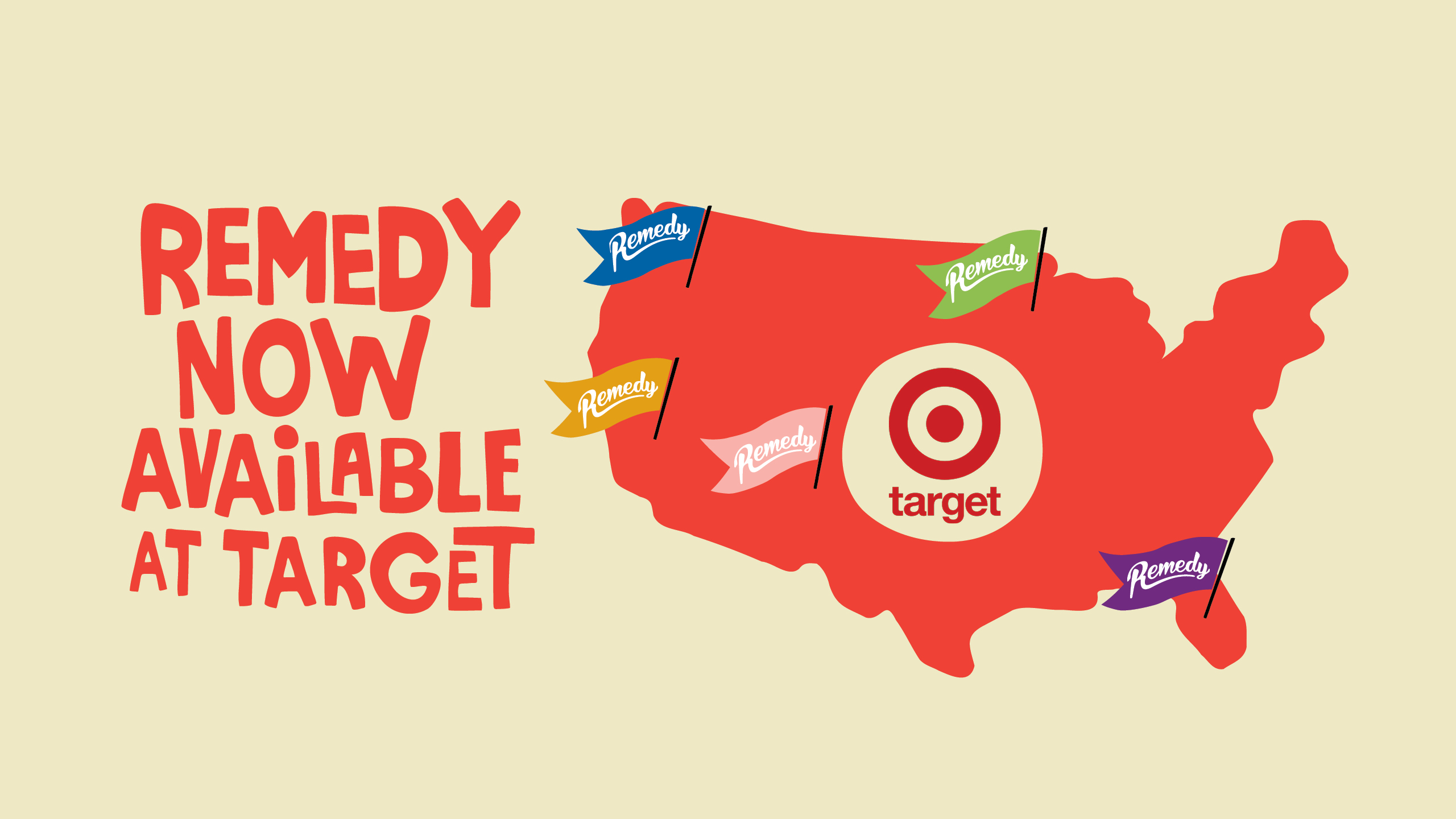 Map of USA with Remedy flags in Target locations stocking Remedy
