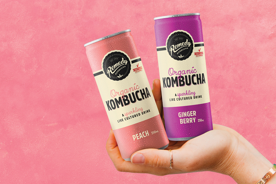Remedy Kombucha Ginger Berry and Peach cans against a pink background