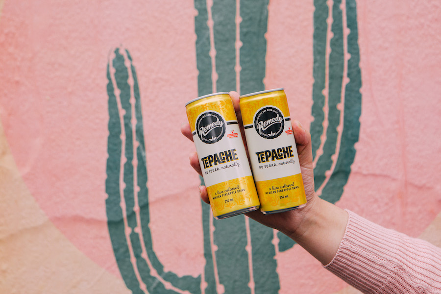 Two Remedy Tepache cans against a cactus background