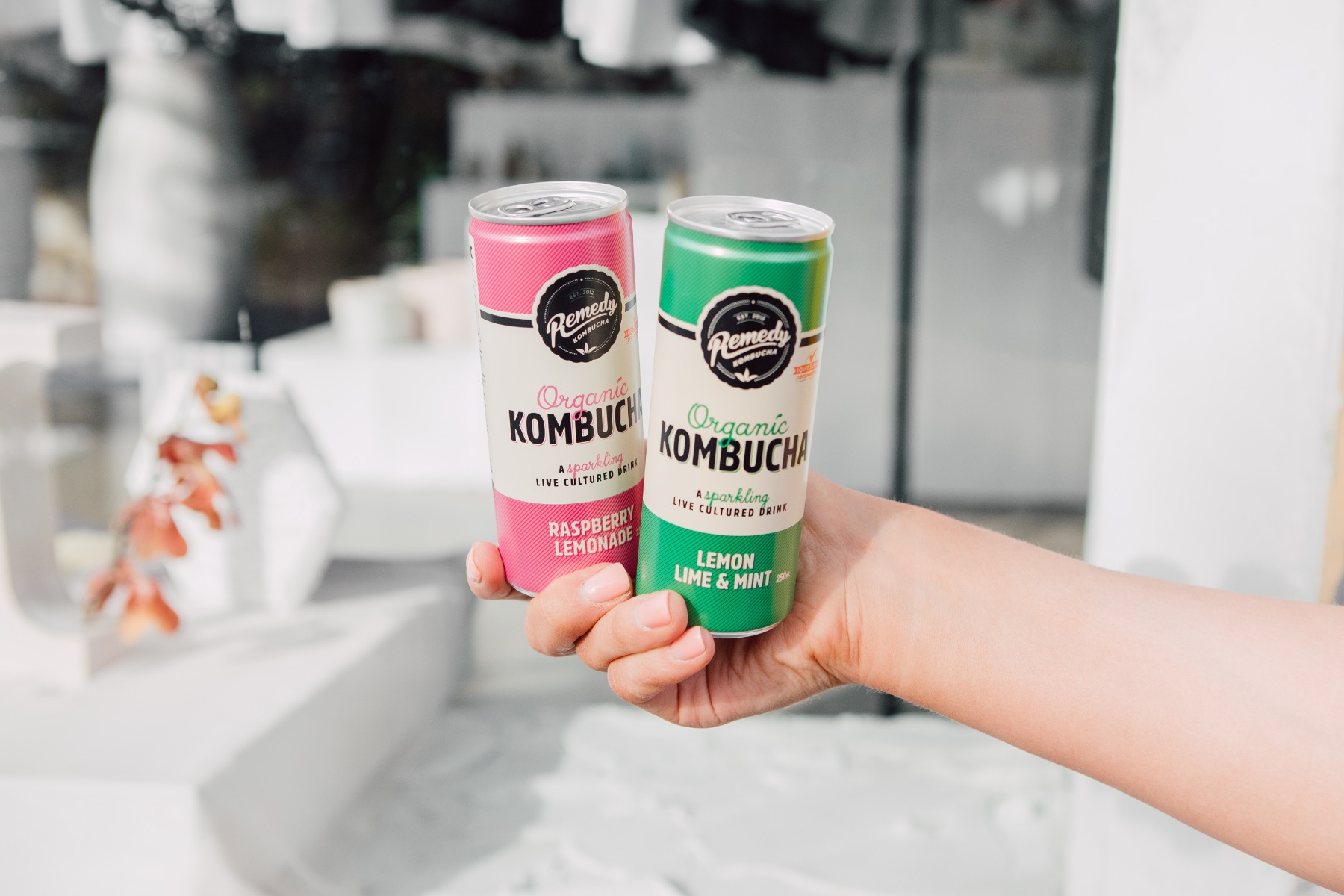 Remedy Kombucha cans in Raspberry Lemonade and Lemon Lime and Mint flavours