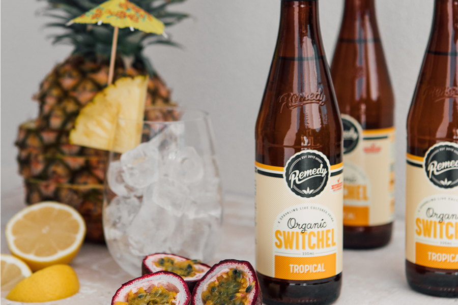 Bottle of Remedy Switchel Tropical with passionfruit and pineapple
